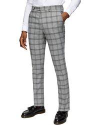 TOPMAN Flat Front Check Pants - Grey