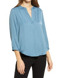 Vince Camuto Three Quarter Sleeve Popover Top - Blue