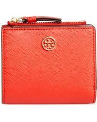Tory Burch - Mini Robinson Wallet Leather Bifold Wallet - Lyst