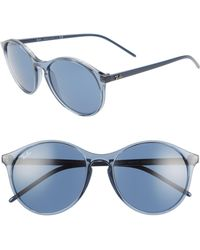 d23ab48c0f0a Ray-Ban - Highstreet 55mm Round Sunglasses - Transparent Blue  Blue Solid -  Lyst