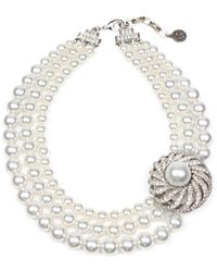 Ben-Amun - Triple Imitation Pearl Strand Collar Necklace - Lyst