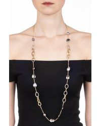 Alexis Bittar Crystal Encrusted Mesh Chain Link Station Necklace - Metallic