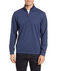 Vineyard Vines Herringbone Half Zip Flannel Pullover - Blue