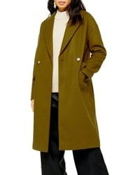 TOPSHOP Olive Double Breasted Coat - Green