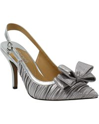 J. Reneé Charise Bow Pointed Toe Slingback Pump - Metallic