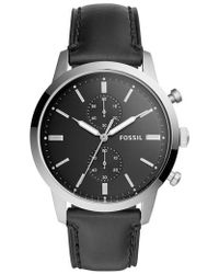 Fossil - Townsman Chronograph Leather Strap Watch - Lyst