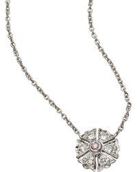 Sethi Couture Flower Diamonds Pendant Necklace - Metallic