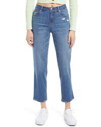 1822 Denim - Distressed Straight Leg Jeans - Lyst