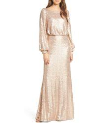 Tadashi Shoji Blouson Long Sleeve Sequin Evening Dress - Multicolour