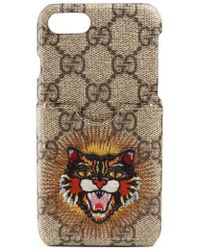 Gucci - Embroidered Angry Cat Gg Supreme Iphone 7 Case - Lyst
