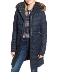 Barbour - Foreland Quilt Mix Coat With Detachable Faux Fur Trim - Lyst
