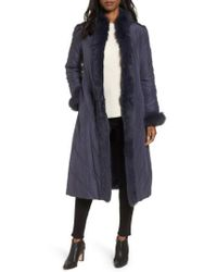 George Simonton | Couture Packable Silk Coat With Genuine Fox Fur & Genuine Rabbit Fur, Blue | Lyst