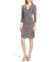 Anne Klein - Large Dot Draped Front Dress - Lyst