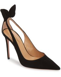 Aquazzura Deneuve Bow Pointy Toe Pump - Black