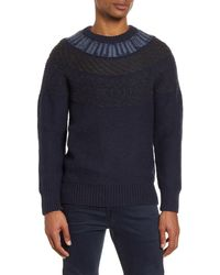 French Connection Regular Fit Fair Isle Sweater - Blue