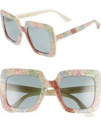 Gucci - 53mm Glitter Stripe Square Sunglasses - - Lyst