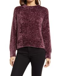 Lou & Grey Velvet Eyelash Sweater - Purple