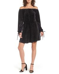 Juicy Couture - Track Off The Shoulder Velour Dress - Lyst