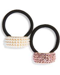 Tasha - 2-pack Embellished Ponytail Holders, Pink - Lyst