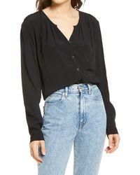 Treasure & Bond Shirred Button-up Shirt - Black