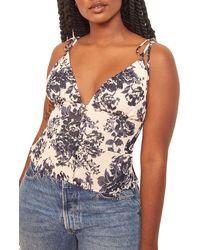 Reformation Cluny Floral Tie Shoulder Top - Blue