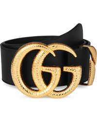 Gucci - Gg Marmont Lizard Buckle Leather Belt - Lyst