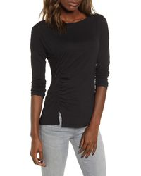 Stateside Side Ruched Long Sleeve Supima Cotton Tee - Black