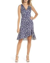 Adrianna Papell - Lady Luck Print Cotton Sateen Dress - Lyst