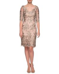 La Femme - Embroidered Lace Sheath Dress - Lyst