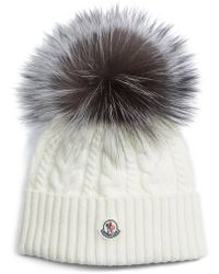 5d8f80bc095 Lyst - Moncler Bailey Slouchy Fur-pom Beanie Hat in Black