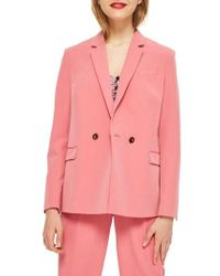TOPSHOP - Longline Double Breasted Button Suit Jacket - Lyst