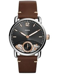 Fossil - Commuter Twist Leather Strap Watch - Lyst
