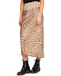 Free People Normani Bias High Waist Cheetah Print Midi Skirt - Brown
