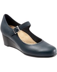 Trotters Willow Mary Jane Wedge Pump - Blue