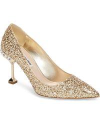 Miu Miu - Jeweled Heel Glitter Pump - Lyst