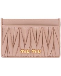 Miu Miu Matelassè Card Case - Pink