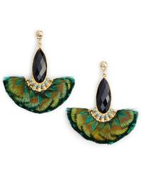 Gas Bijoux - Mini Serti Paon Feathered Drop Earrings - Lyst