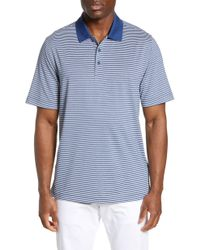 Cutter & Buck Forge Drytec Classic Fit Stripe Performance Polo - Blue