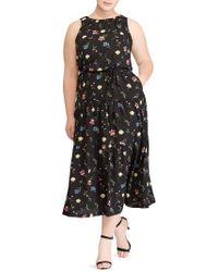 Lauren by Ralph Lauren - Tiered Floral Midi Dress - Lyst