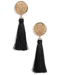 TOPSHOP - Golden Coin Tassel Earrings - Lyst