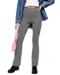 TOPSHOP Black And White Gingham Flare Pants