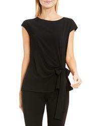 Vince Camuto Mixed Media Tie Front Blouse - Black