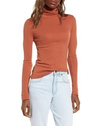 BP. Turtleneck Ribbed Top - Orange