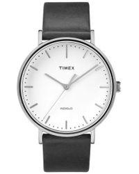 Timex - Timex Fairfield Leather Strap Watch - Lyst