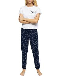 TOPSHOP Navy Stars Embroidered Pyjama Set - Blue