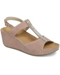 David Tate | Bubbly Embellished T-strap Wedge Sandal | Lyst