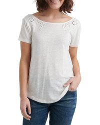 Lucky Brand Womens Scoop Back Ruffle Top