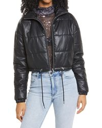 BP. Faux Leather Puffer Jacket - Black