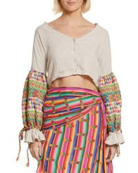 All Things Mochi - Christina Embroidered Crop Top - Lyst