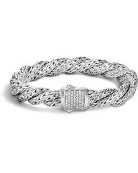 John Hardy - Twist Chain Pave Diamond Bracelet - Lyst